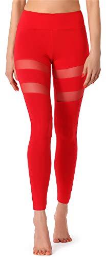 Merry Style Leggins Largos Mallas Deportivas Mujer MS10-232 (Rojo, XL)
