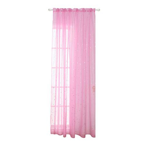 BESPORTBLE 1Pc Cortinas Sunblind Foil Print Silver Star Glitter Voile Window Screening Sheer para Dormitorio Rosa