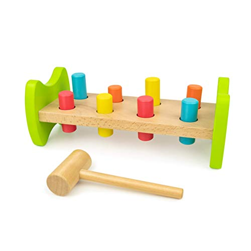 Bimi Boo Hammer Toy - Pounding Bench Wooden Toy - Classic Hammer Toys , Hammers for Toddlers and Kids 2 - 6 Years Old ( Mallet, 8 Pegs, 4 Colors, Natural Beech Wood, Develops Fine Motor Skills )