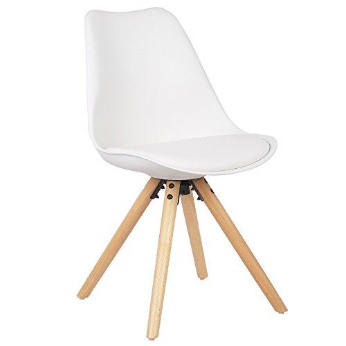 WOLTU® BH52ws-1 1 Stück Esszimmerstuhl, mit Sitzfläche aus Kunstleder, Design Stuhl, Küchenstuhl, Holz, Weiß