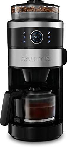 Gourmia GCM4850 Grind and Brew Coffee Maker with Built-In Grinder - Adjustable Grind Size - Cup Selection Dial - Brew Strength Selection - Keep Warm Function - 6 Cup
