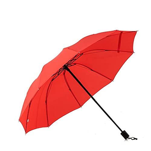 Paraguas Rojo Grande Paraguas Rojo Plegable Triple Paraguas Tamaño medio Manual de 10 huesos más paraguas rojo