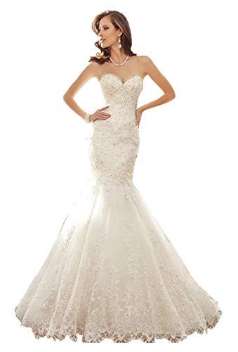 CGown Damen Sweetheart Ausschnitt Perlen Meerjungfrau Hochzeit Kleider für Braut mit Ärmellos Zug Schnürung Brautkleid Gr. 52, weiß
