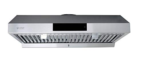 Hauslane - Chef Series 30' PS18 Under Cabinet Range Hood, Stainless Steel - Pro Performance - Contemporary Design 860 CFM, Touch Screen w/Clock, Dishwasher Safe Baffle Filters, LED Lamps, 3Way Venting
