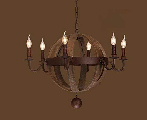 Kristallkrona Lampa amerikanska retro industriell luft personlighet kreativ trä loft by klädaffär restaurang skepp trä ljuskrona, 6 huvud