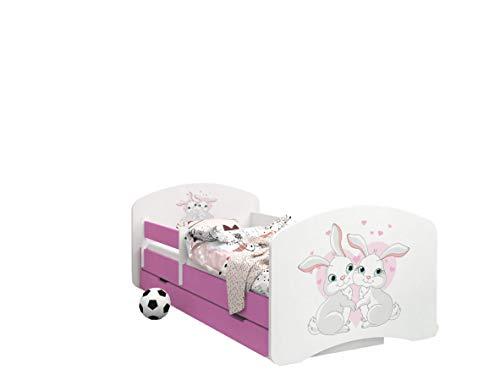 Happy Babies -LIT d'enfant Rose Double Face avec TIROIR Design Moderne avec Bords Sécurisés et Matelas en Mousse Antichute 7 cm (58. Lièvres Amoureux, 190x90)