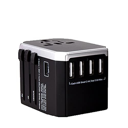 PIAOLING International Plug Converter, Adaptador de Viaje Mundial Universal para Nosotros UE UE UK AUS Europa Teléfono Celular (Color : Gris)