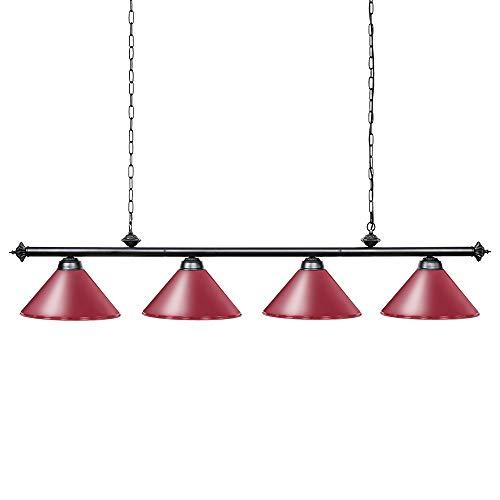 Wellmet Pool tafellampen voor 243-335cm tafel met 4 metalen schermen, biljartlamp voor mannen cave, speelkamer, keukeneiland, licht voor restaurant of eetkamer