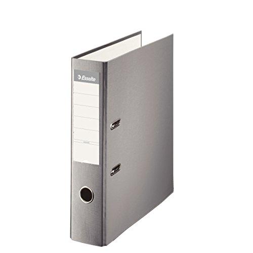 ESSELTE 42330 - Archivador de palanca plástico forrado con rado, ojete y cantonera DIN A4. Lomo 75 mm color gris