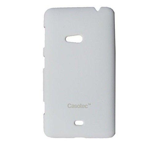 Casotec Ultra Slim Hard Back Case Cover w/Screen Protector for Nokia Lumia 625 - White