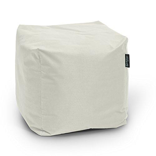 BuBiBag Sitzsack Würfel 45x45x45cm mit Füllung Cube Sitzwürfel Sitzkissen Bodenkissen Kissen Sessel BeanBag (beige)