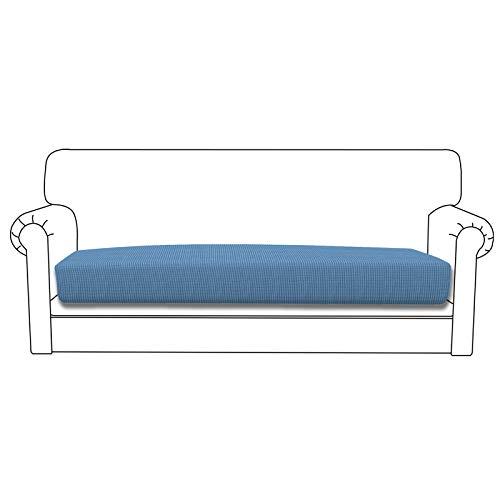 Easy-Going Funda de cojín elástica para sofá, funda de sofá, funda de sofá, suave y flexible con parte inferior elástica (cojín de gran tamaño, azul claro)
