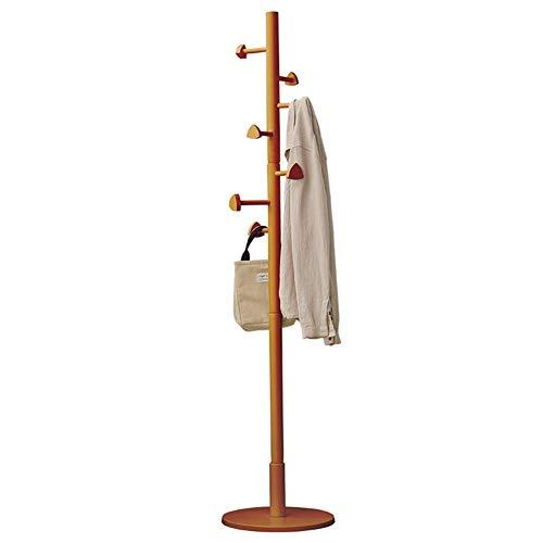 POETRY Coat rack houten hanger vrijstaande kapstok boom houder met 7 haken en ronde basis (kleur: wit)
