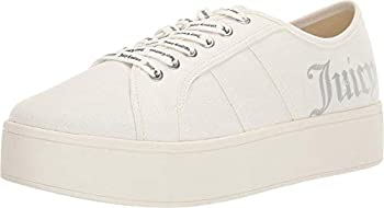Juicy Couture Bouncy Women Lace Up Fashion Sneaker Casual Shoes Platform Sneakers for Women Bouncy White Canvas 8.5
