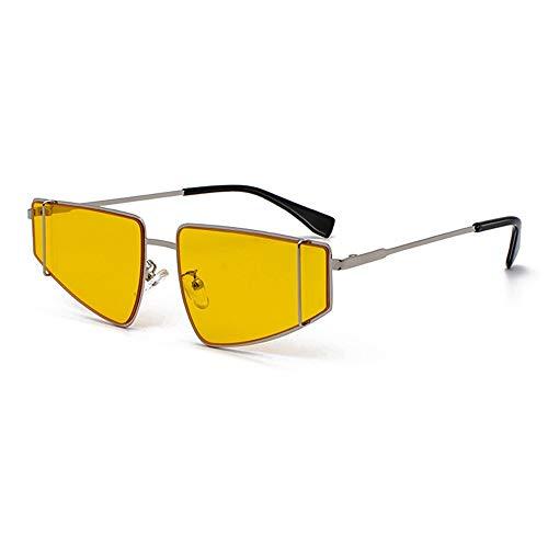 Raxinbang Gafas de Sol Gafas De Sol con Montura Pequeña De Metal Plateado Retro. Europa Y Estados Unidos Llevan Gafas con Lentes De Protección UV400, Lentes Amarillas.