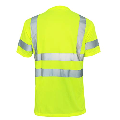 Hi Vis T Shirt ANSI Class 3 Reflective Safety Lime Short Sleeve HIGH Visibility (L)