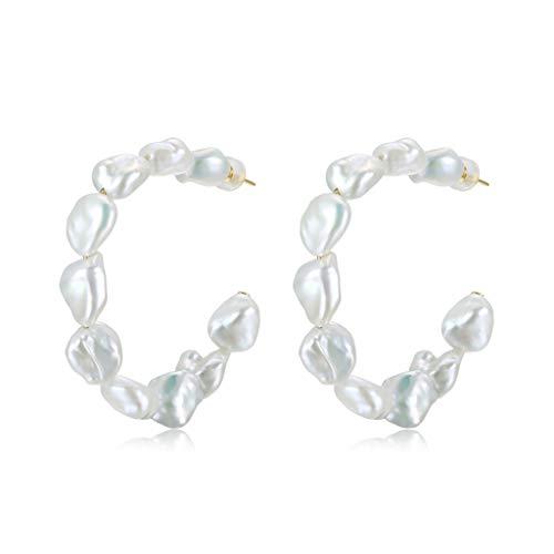 KGDC Ohrringe Damen Ohrring Dainty Schmuck Geschenk Süßwasser-Zuchtperlen Ohrringe for Frauen, S925 Sterlingsilber-Ohrring-Perlen-Band-Ohrringe for Frauen-Mode Damen-Ohrstecker