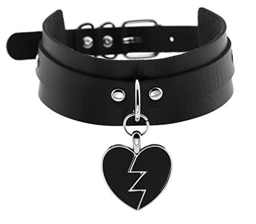 EROSPA® Damen Halsband Kropfband aus Kunstleder mit Herz-Anhänger- Schwarz/Silber