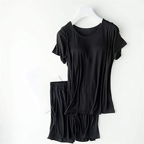 SGSG Conjunto de Pijama de Verano de algodón para Mujer, Conjunto de Pijama Corto y Redondo, Costura de cojín en el Pecho, Ropa de hogar Modal Que se Puede Usar por Fuera o por Dentro, Gris, XL