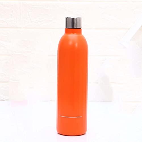 HJGK Hervidor De Botella Deportivo De Acero Inoxidable 304, Taza De Agua para Bolos, Hervidor De Agua Creativo De Doble Capa Portátil Y De Moda para Exteriores 500ML,Naranja,500ML