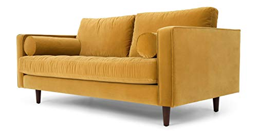 LAFII.T Mid-Century Modern Velvet Sofa Loveseat Sofa Solid Hardwood Frame Sofa with Two Smooth Bolster Pillows,2 Seater/3 Seater/Chaise Sofa for Living Room (Yellow, Two Seats)