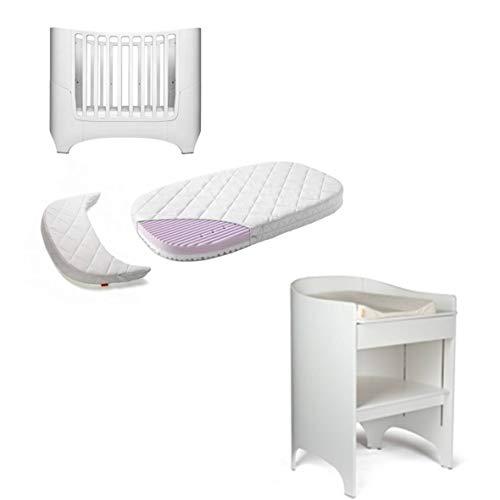 Leander - Lettino per bebè, con materasso e fasciatoio, colore: Bianco