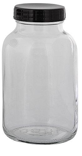 Weithalsflasche, Klarglasflasche m. Kunststoff-Deckel, leer Kosmetex Glasdose, Flasche, 250 ml, 1× 1000 ml