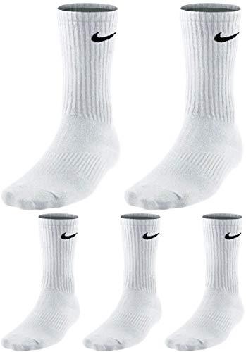 Nike Socken 5 Paar Herren Damen Sparset Tennissocken Sportsocken Laufsocken Paket B&le, Farbe:weiß, Größe:42-46