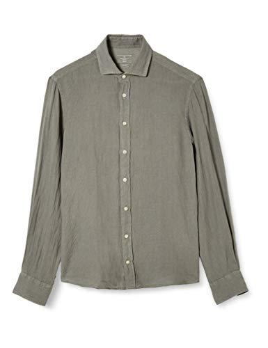 Hackett London Garment Dye Ln KS Camisa, Gris (9KVTARMAC 9KV), 44 (Talla del fabricante: X-Large) para Hombre