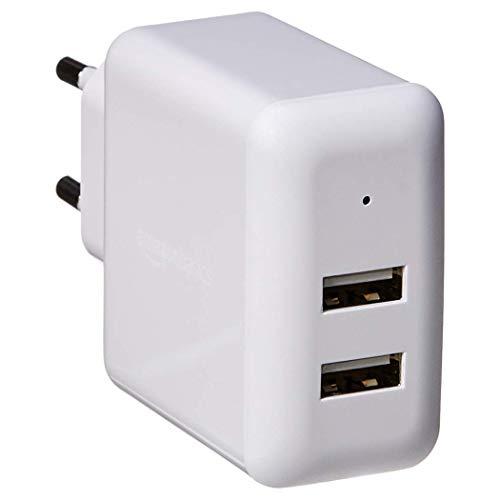 Amazon Basics – Cargador USB de pared de dos puertos (2,4amperios), Blanco