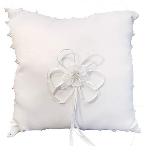 Ringkissen für Hochzeit, Weiß, Kissen für Trauringe mit Blüten und Perlen Verzierung, quadratisch 20 x 20 cm