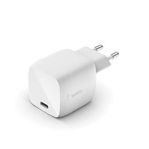 Belkin cargador de pared GaN USB-PD de 30 W Boost Charge (cargador rápido USB-C para iPhone, MacBook Air, iPad Pro, Pixel, Galaxy y otros)