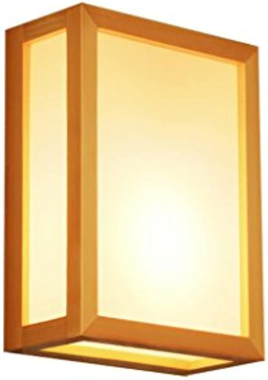 DENG Einfache Massivholz-Wandleuchte, Wohnzimmer, Arbeitszimmer, Schlafzimmer Nachttischlampe LED-Wohnzimmer Gang Balkon Tatami Wandleuchte mit Lichtquelle
