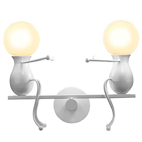 KAWELL Humanoid Kreative Wandleuchte Moderne Wandlampe LED Einfache Kerze Wandleuchte Art Deco Max 60W E27 Basis Eisen Halter für Schlafzimmer, Wohnzimmer, Bett, Treppe, Flur, Restaurant, Küche, Weiß