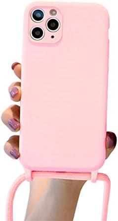 Emlivi Mobiele telefoonketting hoes voor iPhone 12 hoes halsketting hoesmdash; met koord om om te hangen vloeibare siliconen telefoonhoesmdash; met koord koordmdash; met case om om te hangenmdash; voor iPhone 12mdash; roze