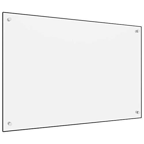 vidaXL Küchenrückwand Spritzschutz Fliesenspiegel Glasplatte Rückwand Herdspritzschutz Wandschutz Herd Küche Weiß 90x60cm Hartglas