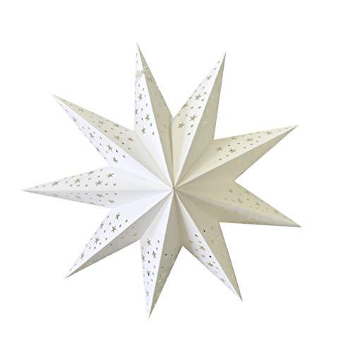 BESPORTBLE 2St. 45CM Weihnachtsstern Papier Lampenschirm 3D Aushöhlen Papierstern Laterne Star Lantern für Weihnachten Silvester Hochzeit Party Hängende Dekoration Ornament Fensterdeko Weiß