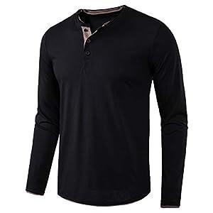 Men's Long Sleeve Casual Lightweight Fitted Basic Henley T-Shirt