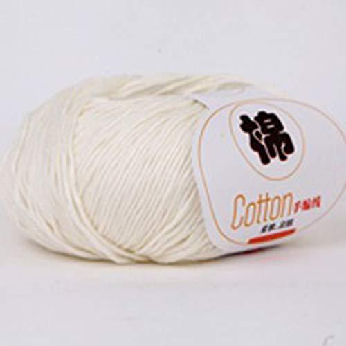 RHNE Bebé Peinado Leche Hilo de algodón Hilo Mezclado Lana Hilo de Coser para Ropa para bebé Blanco