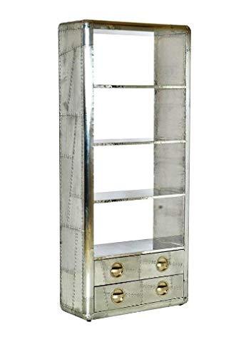 NauticalMart Art Deco Vintage Flyer Furniture Luxury Designer Aluminum Bookcase with Drawers Vintage Aviator Furniture