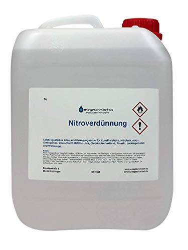 wiegeschmiert.de Nitroverdünnung (5 Liter) | Verdünner für Kunstharzlacke etc. | Reiniger für Pinsel, Werkzeuge etc.