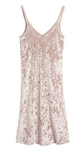 CityComfort Ladies Crushed Velvet Nighties Baby Doll Women Nightwear Elegant Lingerie Dress V Neck Sleepwear (10, Pink)