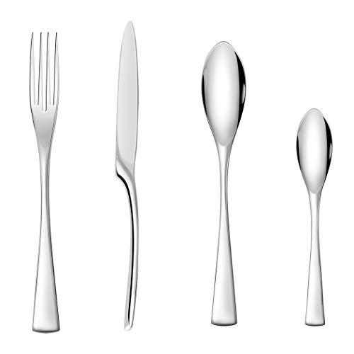 Juego de cubiertos de acero inoxidable de 16 piezas, vajilla familiar con cuchillo cuchara tenedor, servicio para 4 – pulido espejo y apto para lavavajillas (estilo 02)