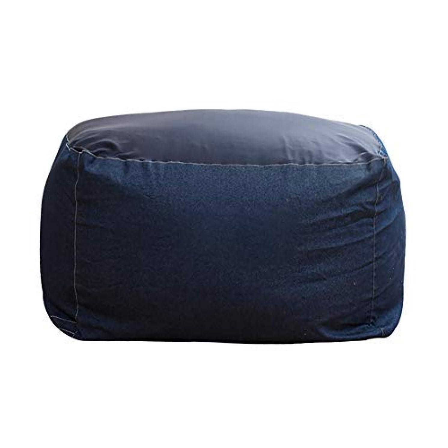 傾斜あまりにも海岸ビーズクッション 座布団 人をダメにするソファ もちもち 低反発 疲労を軽減 伸縮 軽量 洗えるクッション 取り外し可能 55x55x38cm デニムブルー
