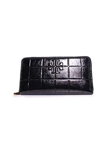 Tory Burch Marion Quilted Patent Zip Around Wallet (Black)