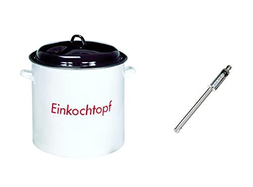 Culinario Einkochtopf-Set, Einkocher mit Thermometer, 28 Liter, für alle Herdarten geeignet, emaillierter Kochtopf für Marmelade, Glühwein, Punsch