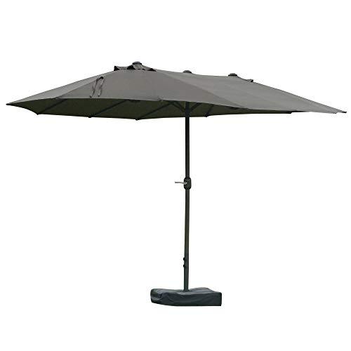 Outsunny Sonnenschirm Gartenschirm Marktschirm Doppelsonnenschirm Terrassenschirm mit Schirmständer Handkurbel Dunkelgrau Oval 460 x 270 x 240 cm