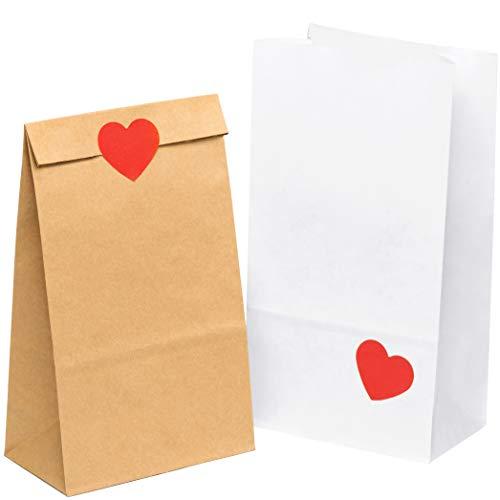 kgpack 100x Bolsas de papel kraft DIY Con pegatinas corazón 14 x 26 x 8 cm | Bolsas de papel Kraft para niños | calendario de adviento | Bolsa de regalo de fondo plano | Bolsa de papel de alimentos