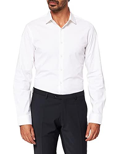 Calvin Klein Poplin Stretch Slim Shirt Camicia, Bianco, L Uomo