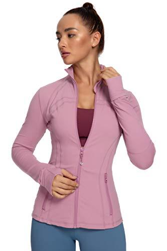 QUEENIEKE Damen Sport definieren Jacke Slim Fit Cottony-Soft Handfeel Farbe Blasses Rosa Größe M(8/10